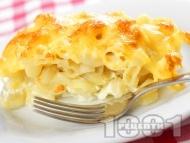 Макарони на фурна с яйца, захар, прясно мляко и сирене